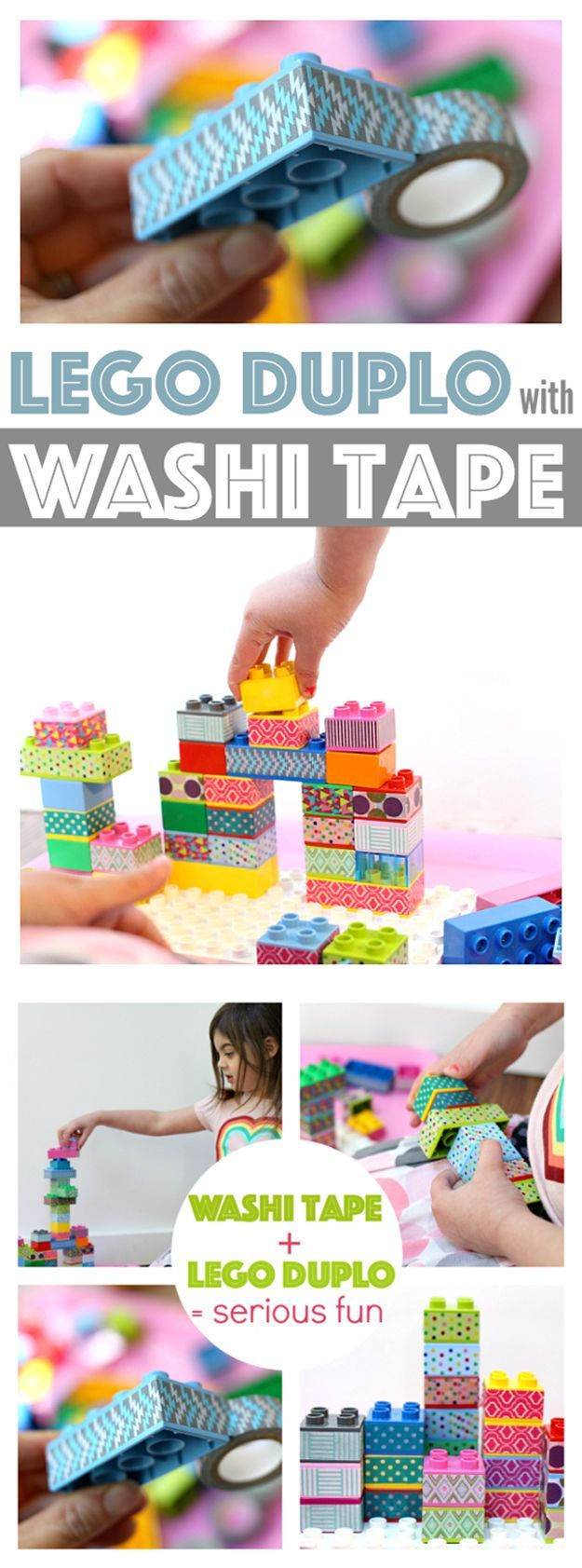 Kids Crafts with Washi Tape | Washi Tape Lego Duplo by DIY Ready at http://diyready.com/100-creative-ways-to-use-washi-tape/