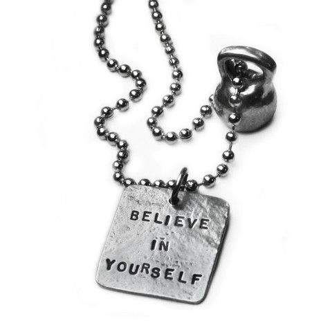 Picture of Kettlebell Necklace (medium pewter) -  Believe In Yourself