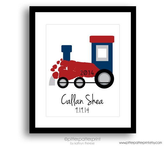 Train Nursery Art Print, Transportation Nursery Wall Art, Baby Footprint Art, Personalized Boys Room Decor, Children's Art Print
