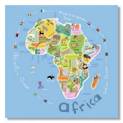 Map of Africa for kids - Africa wall art