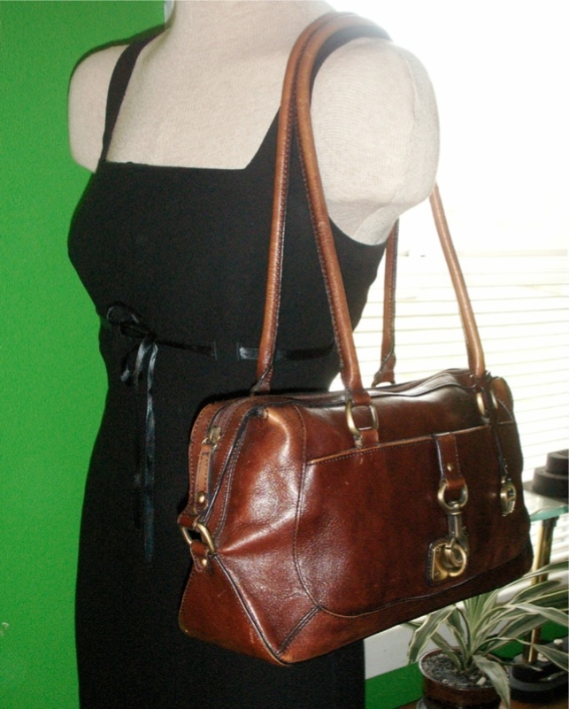 Vintage Cognac Brown Leather Etienne Aigner Large Shoulder Bag Handbag Purse