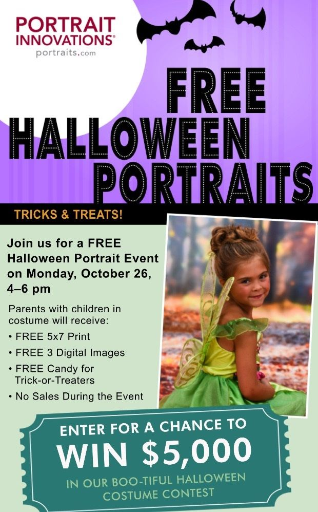 Portrait Innovations is hosting a FREE Halloween Portrait event at a studio near you! Take the kids in for a free photo of them in costume and a few treats.