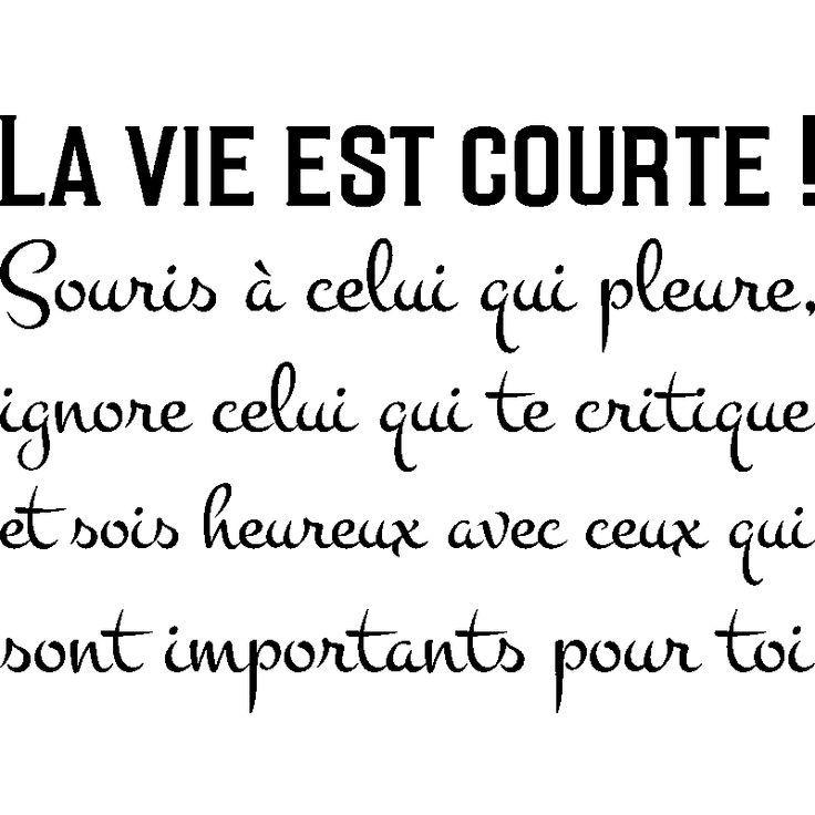 Sticker Citation La Vie Est Courte Citation Courte Est
