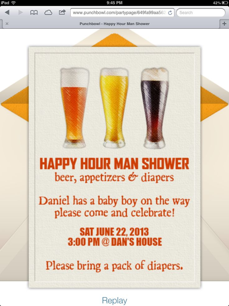 Invitations I made on punchbowl for a baby shower for my husband. Beer & appetizers + diapers = Happy Hour Man Shower