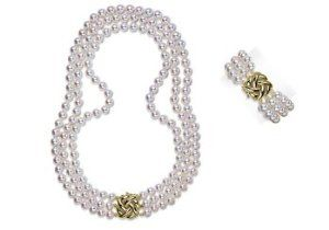 "9.5x10mm AA Quality Japanese Akoya saltwater cultured pearl necklace 51"" triple strand Rope"