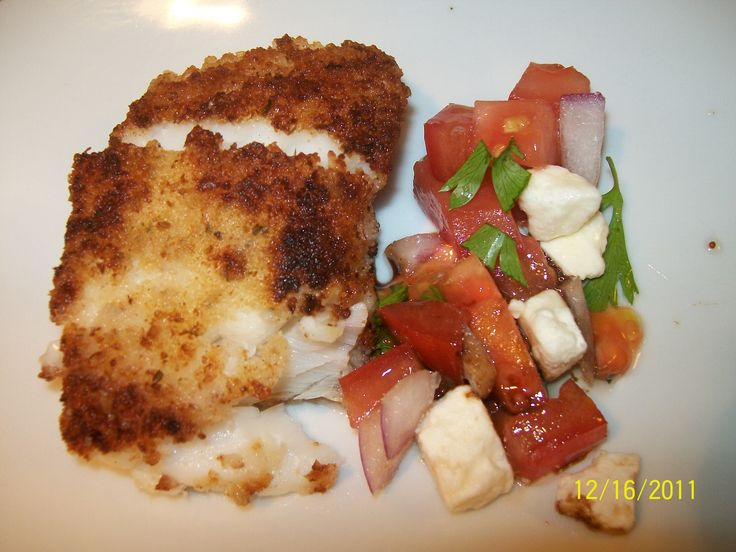 Crunchy Cod Italiano with Caprese Salsa - for low sodium, omit added salt, use homemade no-salt dressing and low sodium bread, panko, and/or matzo crumbs; make sure to use a lowewrr sodium fresh mozzarella
