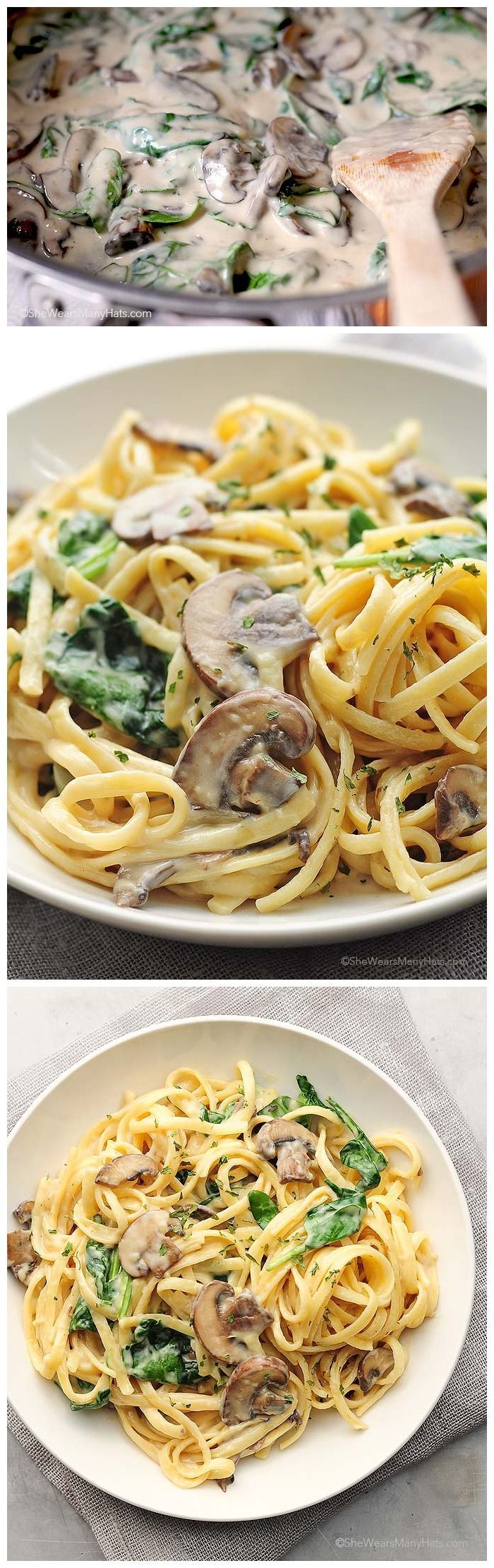So delicious! This easy Mushroom Florentine Pasta is perfect for any night of the week. #recipe #pasta   shewearsmanyhats.com