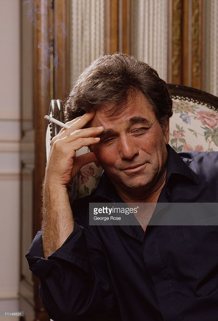 Actor Peter Falk poses to ponder a question during a 1989 Beverly Hills, California, photo portrait session. Falk starred as an absent-minded police detective in the hit TV show 'Columbo.'