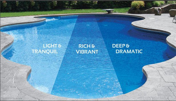 Fantastic Inground Pool Liners Design With Unique Shaped Decoration With Blue Porcelain Combined With Concrete Tile Flooring