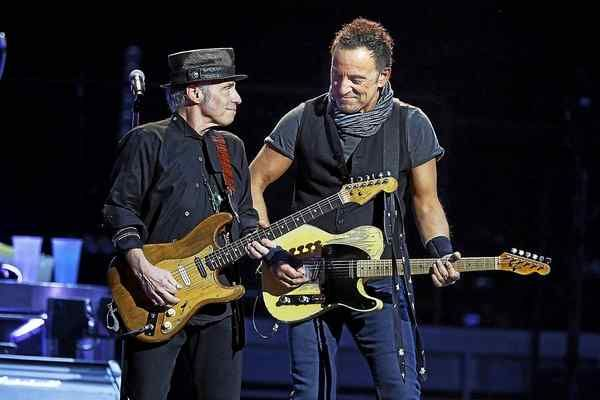 Nils Lofgren (left) with Bruce Springsteen and The E Street Band live at Quicken Loans Arena in Cleveland, Ohio, on Feb. 23-2016.