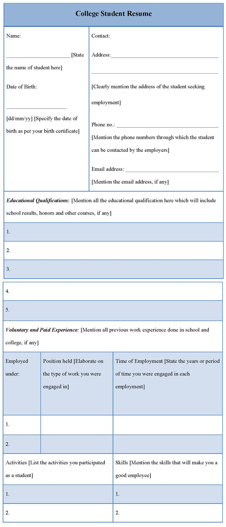 College student resume examples resume builder resume
