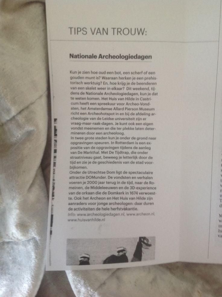 Trouw weekendtip Archeologiedagen