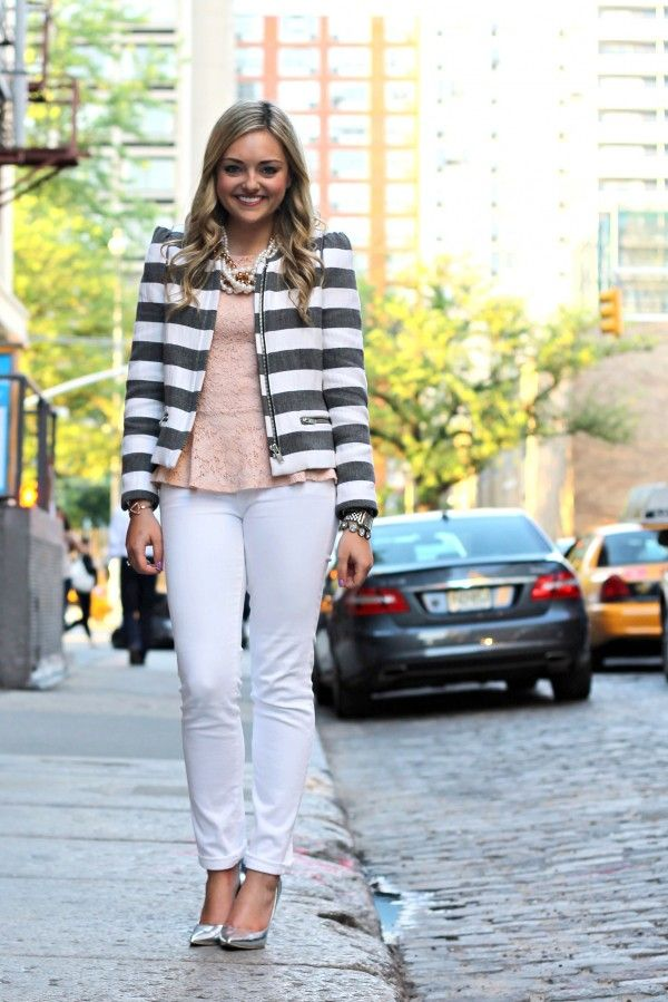 From Bows and Sequins: blush lace peplum top with white jeans and striped jacket