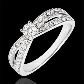 Bague Solitaire Saturne Duo double diamant - or blanc - 0.15 carat - 18 carats : bijoux Edenly