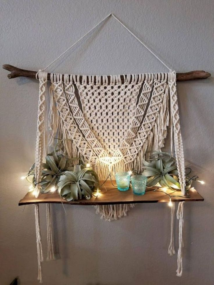 New Hanging Shelves Design In 2020 Hanging Wall Decor Macrame Wall Hanging Diy Wall Hanging Shelves