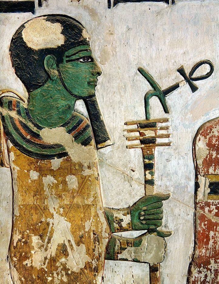 """the God Ptah (green-skinned), holding the combined 'Djed'-'Uas'-scepter with the 'Ankh' (Life). Detail from the """"House of Eternity"""" of King Sethi I, Valley of the Kings, KV17, west 'Uaset'-Thebes"""