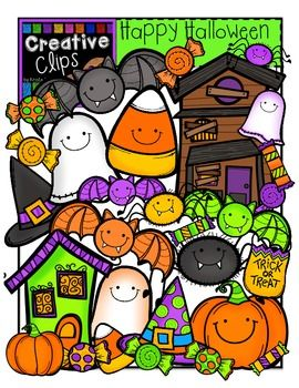This 45-piece set is packed with Halloween favorites! Included are 31 vibrant, colored images and 14 black and white versions (not shown in the preview). $ Creative Clips by Krista Wallden