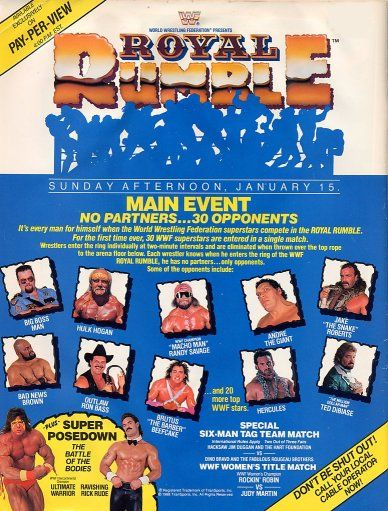 WWF / WWE ROYAL RUMBLE 1989 - Poster for the event