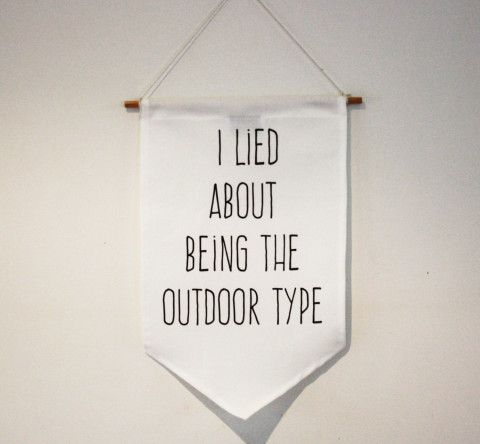 WALL DECOR SIGN, flag, pennant, sign, banner.  I lied about being the outdoors type.