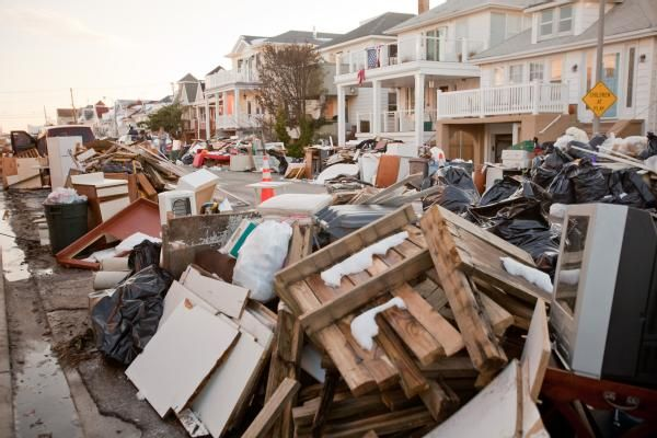 Long Beach, N.Y., Nov. 9, 2012 -- Debris is piled high outside of Long Beach homes. Hurricane Sandy created widespread flooding, power outages and...