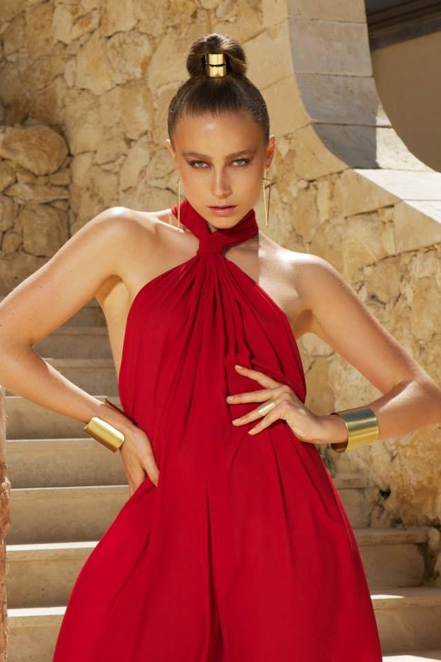 Naxos dress deep red