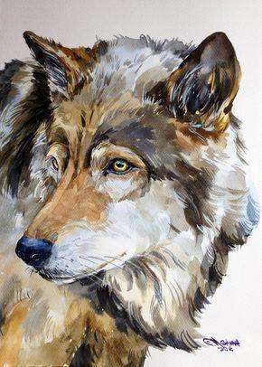 Gris loup Portrait faune Animal aquarelle par alisiasilverART