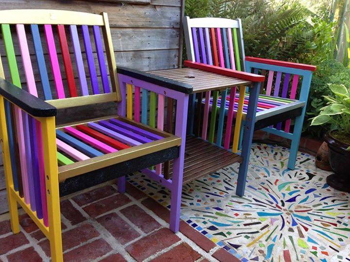 Attractive Patio Paint Outdoor Chairs #decoartprojects #patiopaint #outdoordecor