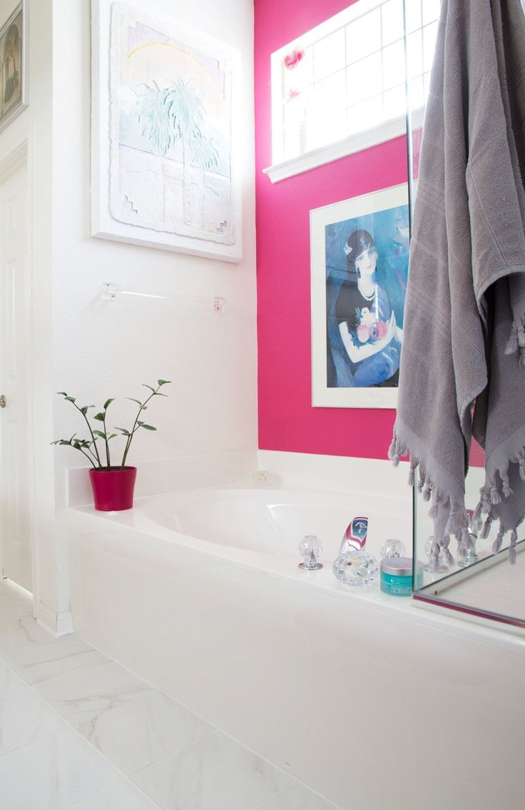 the 25 best contemporary pink bathrooms ideas on pinterest pink bernadette s cool colorful contemporary austin home house tour outdoor bathroomspink bathroomsbathrooms decorbathroom designsbathroom