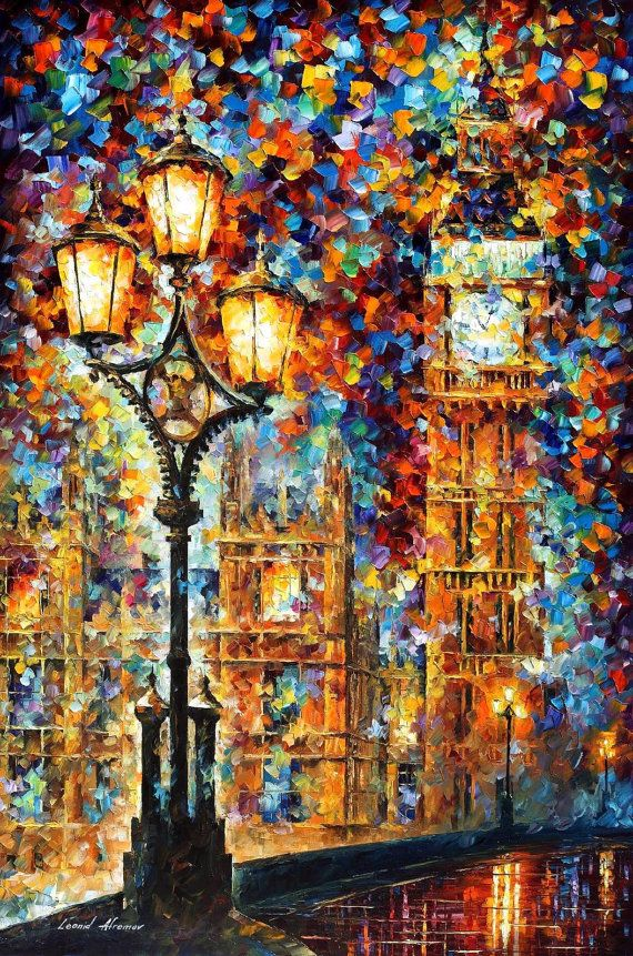 "London's Dream — PALETTE KNIFE1 Oil Painting On Canvas By Leonid Afremov - Size: 30"" x 40"" (75cm x 90cm)"