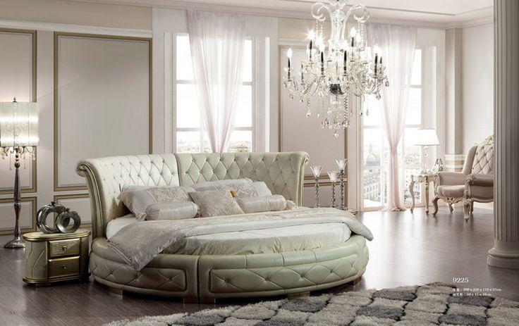 De color champán de plata pintado cama redonda, Moñudo king size tapizados cama de cuero, muebles de dormitorio de estilo contemporáneo-imagen-Conjunto de Dormitorio-Identificación del producto:1719932412-spanish.alibaba.com