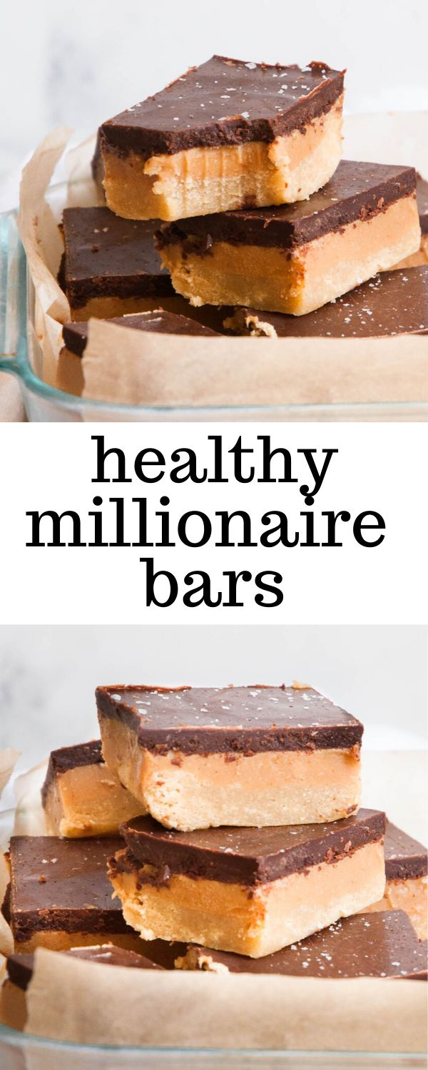 Healthier Millionaire Bars are a gluten-free dessert made of shortbread, cashew butter, and chocolate. They taste gourme…