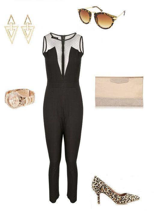 Stylizacja elegancka, styl, szyk, czarny kombinezon z siateczką, kobiecość, elegancja, panterkowe buty, Monashe, Internetowy Magazyn, www.magazyn.modadamska.waw.pl