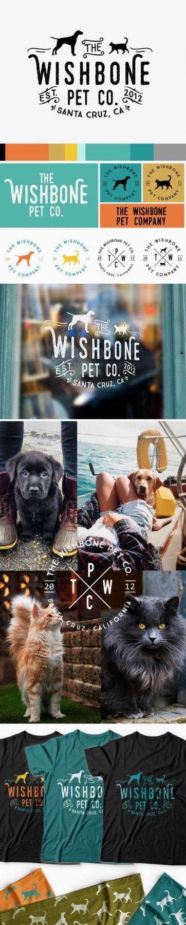 pet shop branding, dog, cat, logo design, pet shop, custom logo, turquoise, aqua, teal, orange, yellow, grey, blue, green, palette, modern, rustic, clean, badge, wishbone, pet, shop