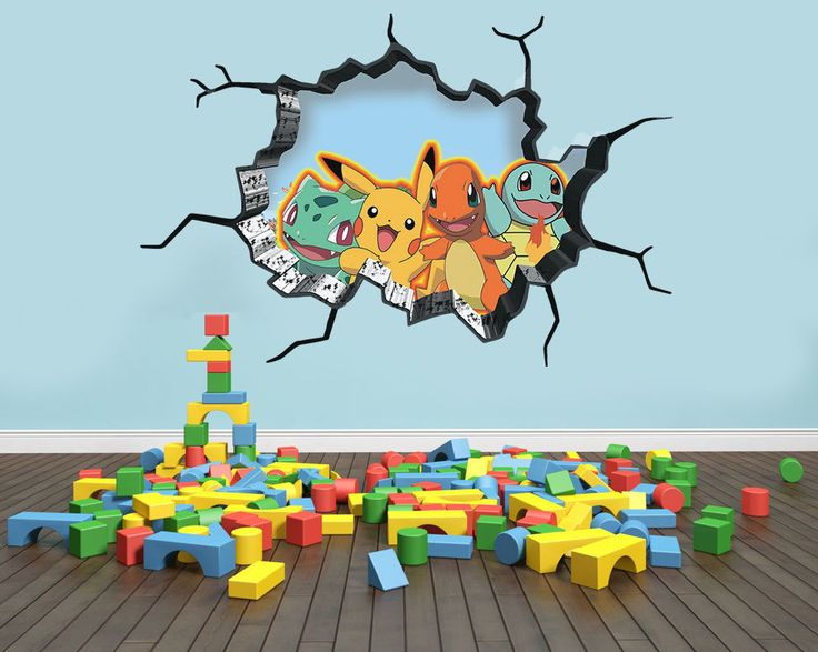 Pokemon Inspired Wall art Sticker Decal 3D Style Smash Art Bedroom Wall | eBay