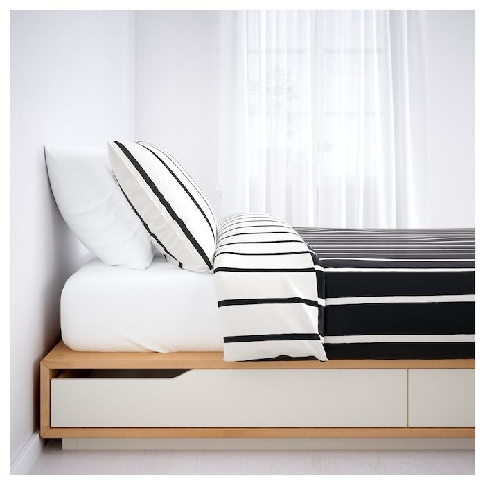 Mandal Bed Frame With Storage Birch White 140x202 Cm Letto