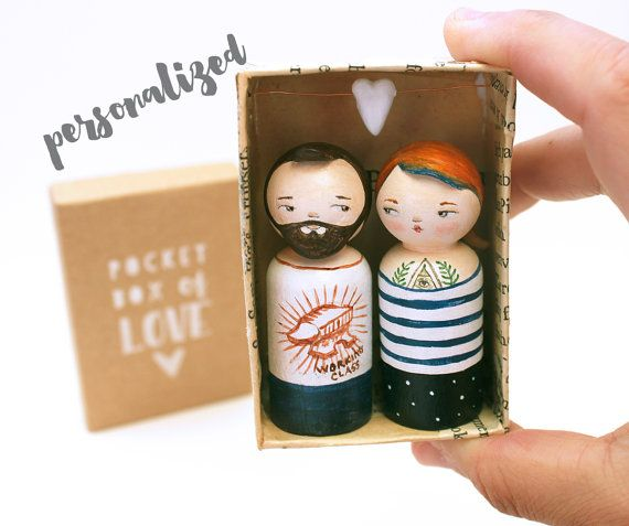 Lets celebrate love, and quirkiness. Personalized Pocket box of love with two 6cm (2 3/8) wooden peg dolls, altered with clay, hand-painted and