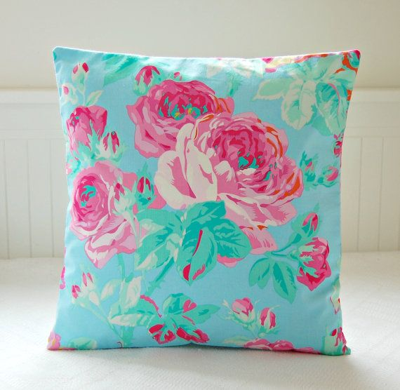 Turquoise blue cushion cover pink roses 16 inch