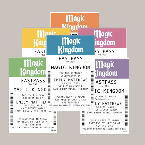 DISNEY Ticket Invitation Fast Pass to the Magic by maudedesigns