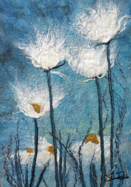 "Daisies IV, series, 2014 ... 16""w x 22""h ... Hand dyed merino wool, silk, linen, hemp, mohair, metallic fiber and a black walnut frame ... Rahola 