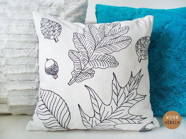 autumn in DaWanda Cushion Covers – LEAVES magic pillowcase / Digital / pressure / – a unique product by WohnHuebsch on DaWanda