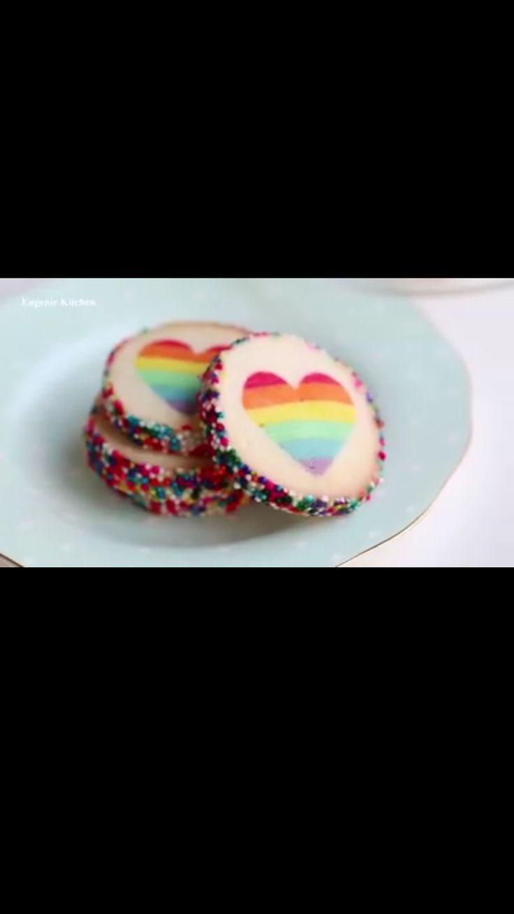 Heart shaped rainbow cookies   Instructions:  http://youtu.be/I2yW_VONWco