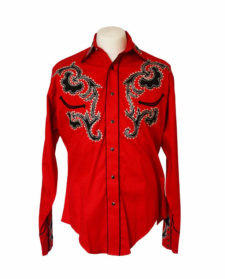 Rockmount Red Tattoo Embroidered Western Cowboy Shirt – Bronco Bill's