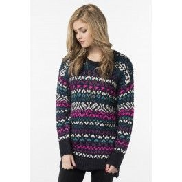 Navy, pink & blue knit sweater