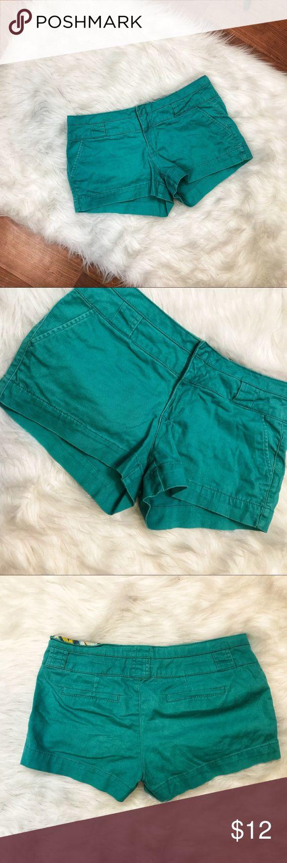 2b Bebe Aqua Shorts Size 8 Classic shorts from 2b Bebe (outlet) - Size 8 / Waist 15.5 / Rise 7 / Inseam 2.5 - Aqua / Back Faux Pockets 2B Bebe Shorts