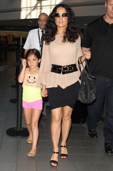 Salma Hayek Photos: Salma Hayek & Daughter Valentina Departing On A Flight At LAX