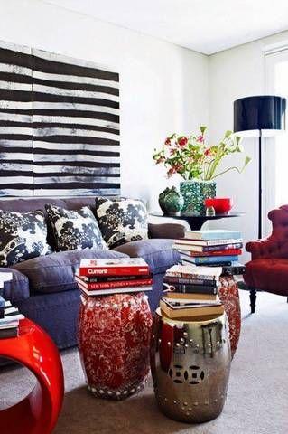 Garden stools as an alternative to a coffee table.