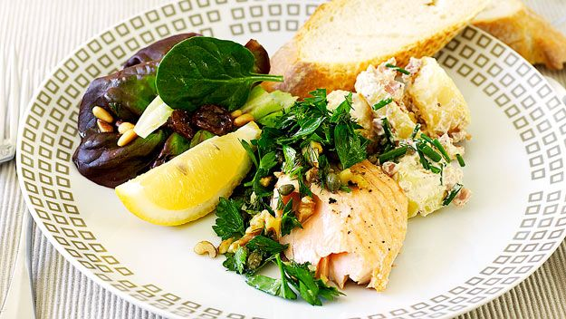 Salmon with herb and walnut salsa