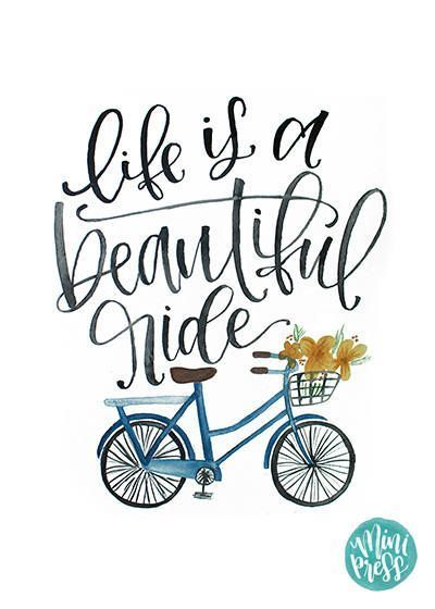 Life Is A Beautiful Ride Quote Art Print Bike Bicycle Watercolor