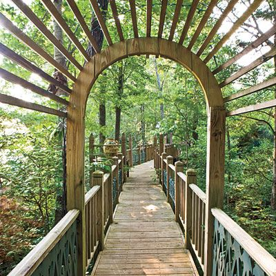 Elevated Walkway through canopy of trees.  It was built for Jim's wife who was no longer ambulatory so she could still tour the grounds.
