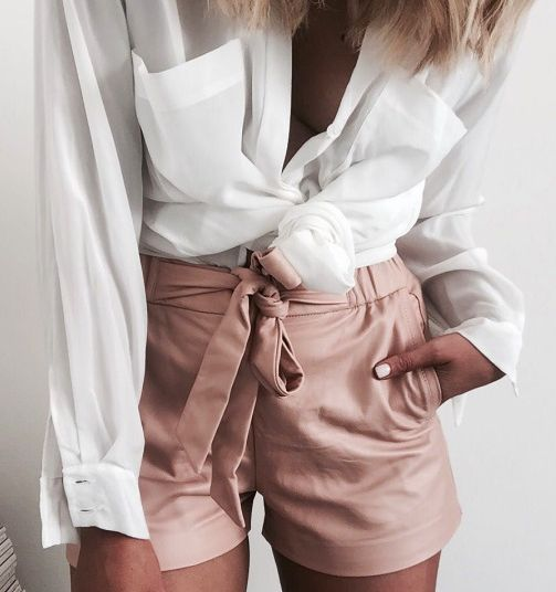sheer blouse + pleated shorts